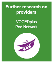 Further research on providers at VOCEDplus Pod Network