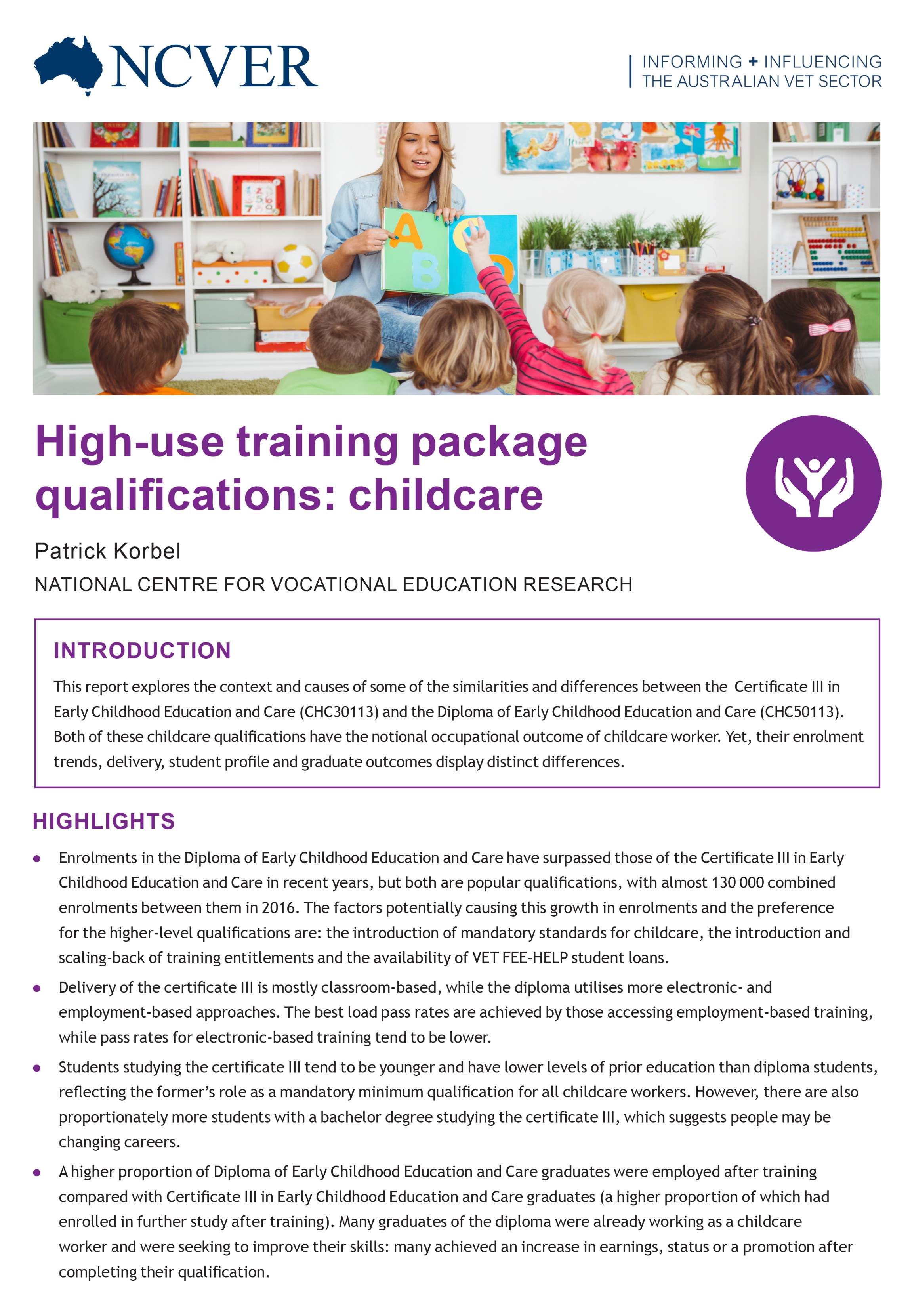High Use Training Package Qualifications Childcare