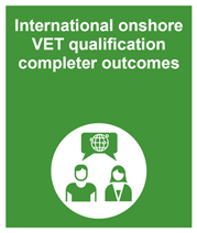 Green box with link to the international onshore VET qualification completer outcomes collection page