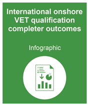 Green box with link to the international onshore VET qualification completer outcomes infographic