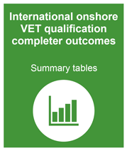 Green box with link to the international onshore VET qualification completer outcomes summary tables